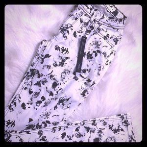 Denim - Floral black and white skinny stretch jeans